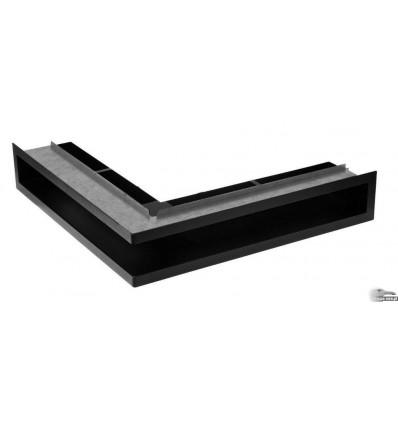 Kratka kominkowa V-OPEN-LR 100x500x500 czarna narożna z ramą