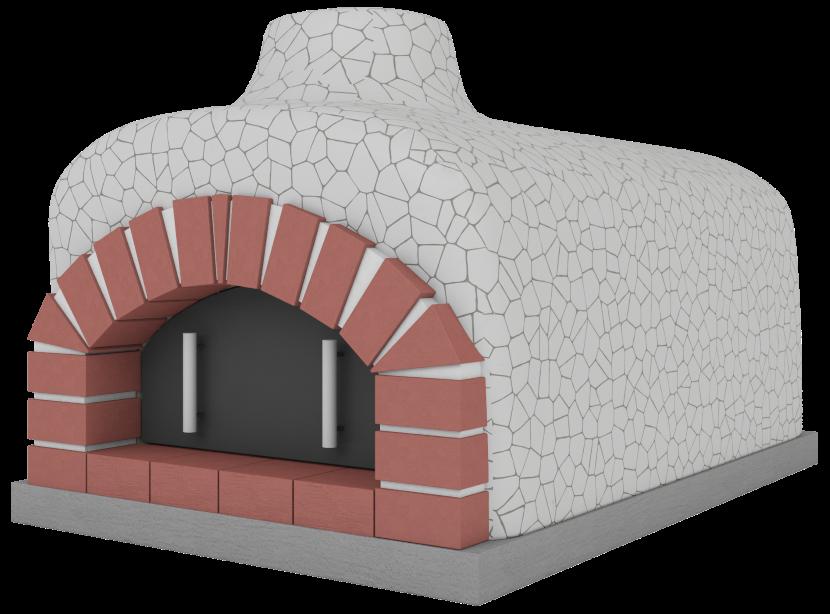 Piec wykończony białą mozaiką