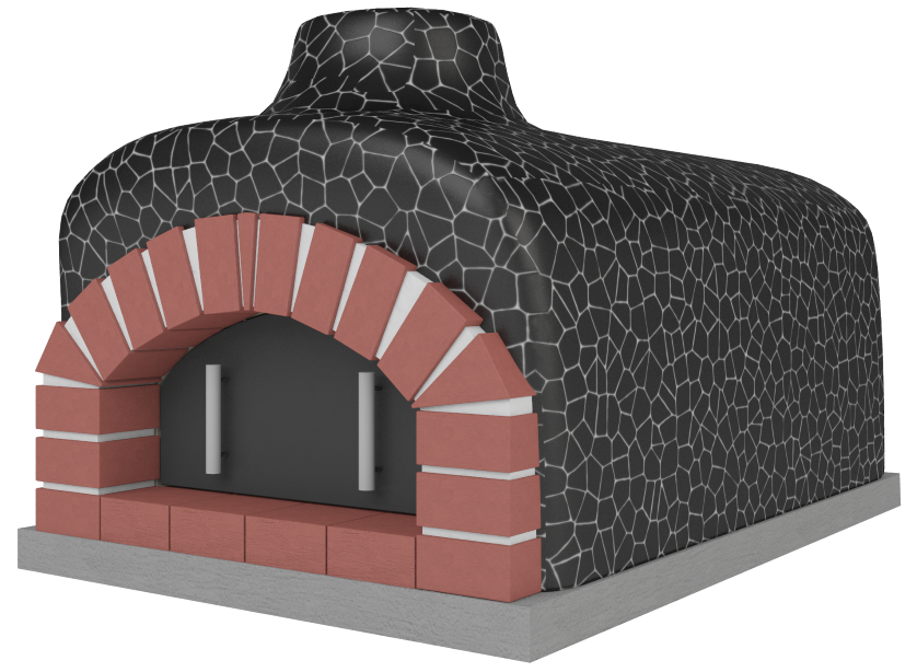 Piec z czerną zewnętrzną mozaiką